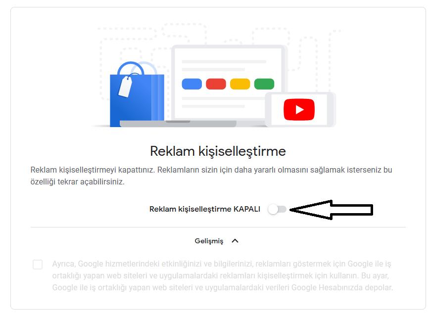 google reklam kişiselleştirmeyi kapatma