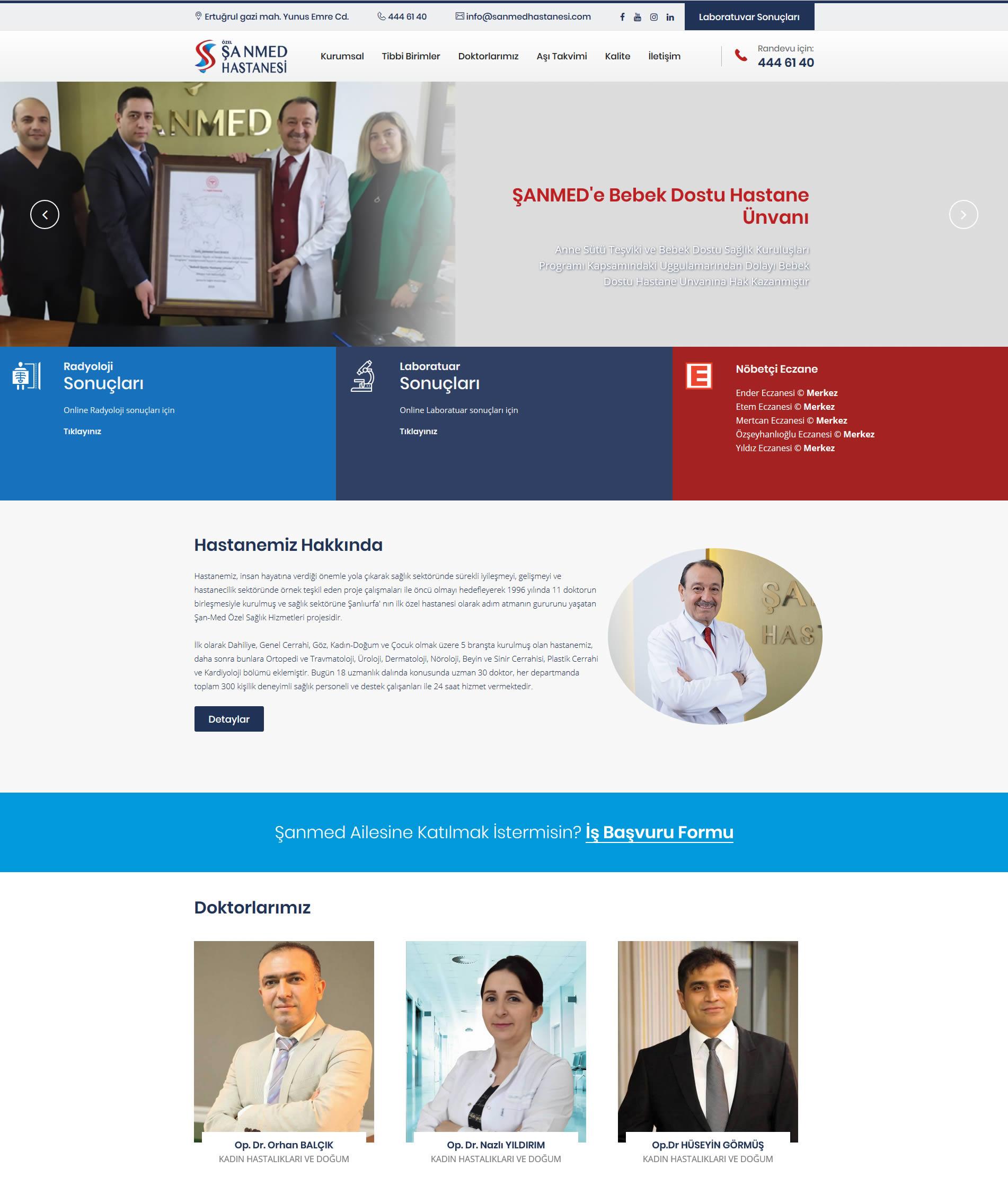 Özel Şanmed Hastanesi Web Sitesi Yayında